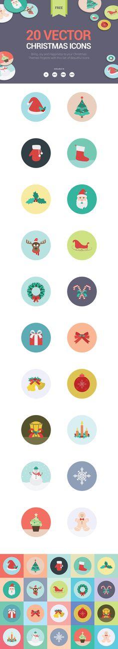 20 Free Christmas Icons Set (AI, EPS, SVG, PNG)