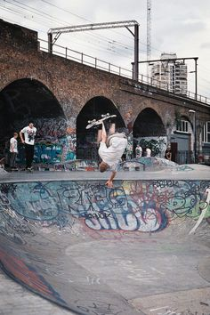 Gymnast invert at lambeth skatepark, London.. Such a sick spot
