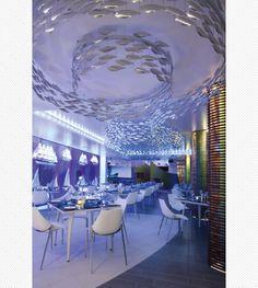 Scabetti | Installations | Shoal - Stainless Steel,Konoba Restaurant Interior Design, Commercial Interior Design, Home Interior, Interior And Exterior, Cozy Restaurant, Restaurant Lighting, Seafood Restaurant, Seafood Shop, Tenerife