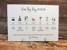 Wedding Timeline Card DEPOSIT by pixelstopaper on Etsy - wedding - Wedding Party Wedding Timeline, Wedding Programs, Wedding Cards, Reception Timeline, Cricut Wedding, Trendy Wedding, Our Wedding, Wedding Reception, Wedding List