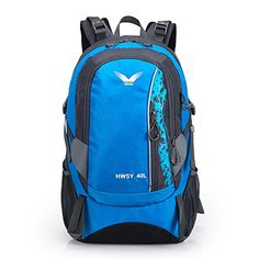 OpetHome Unisex Nylon Water Resistant Outdoor Sports Hiking Camping Backpack 40L Blue * This is an Amazon Affiliate link. Click image to review more details.