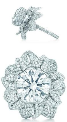 Tiffany & Co. diamond flower ring from The Great Gatsby Collection. The ring centers a  5.25-carat diamond and and additional 3.25 carats of smaller accent diamonds. Worn by Carey Mulligan as Daisy in The Great Gatsby movie.