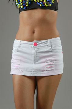 A super cute flirty one button skirt shorts with shredded design.