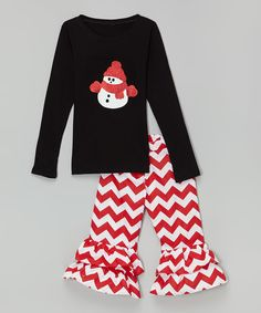 Beary Basics Black & Red Snowman Tee & Pants - Infant, Toddler & Girls by Beary Basics #zulily #zulilyfinds
