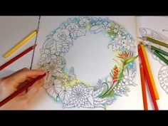 Sharing How I Color Magical Background, Tropical Flowers With Normal Speed Using Prismacolor Premier Colored Pencils. Coloring Book: Magical Jungle by Johann. Leaf Coloring, Colouring Pages, Adult Coloring, Coloring Books, Colored Pencil Tutorial, Colored Pencil Techniques, Zentangle, Tropical Flowers, Colorful Flowers