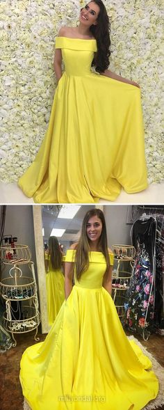 Yellow Prom Dresses, Long Prom Dresses, 2018 Prom Dresses For Girls, Princess Prom Dresses Off-the-shoulder, Satin Prom Dresses For Teens Pockets #yellowdress #modest