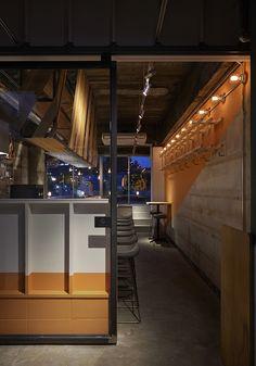 ワークス|oryza nakanosima spinning オリザ中之島スピニング|松本直也デザイン Naoya Matsumoto design  cafe interior idea wood steel