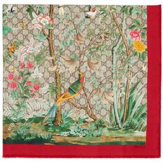 Gucci Tian Silk Scarf featuring polyvore, women's fashion, accessories, scarves, gucci scarves, floral print scarves, print scarves, floral shawl and gucci