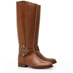 Tory Burch Amanda Riding Boot ($347) ❤ liked on Polyvore featuring shoes, boots, botas, sapatos, almond, knee-high boots, leather boots, knee boots, real leather boots and real leather riding boots