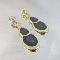 Vintage Dangling Earrings Gold Teal Green Swirl by waalaa on Etsy, $19.99