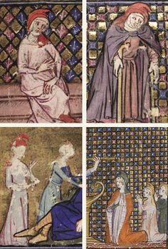 Deventer Burgerscap: Open kaproen Medieval Life, Medieval Dress, Medieval Fashion, Medieval Clothing, Medieval Art, Renaissance Art, Medieval Manuscript, Illuminated Manuscript, 14th Century Clothing