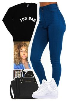 """""""too bad."""" by xxsaraxtaraxx ❤ liked on Polyvore featuring Mophie, Pieces, MICHAEL Michael Kors and NIKE"""