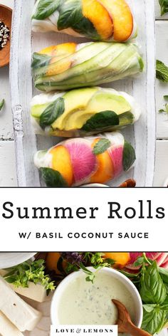 These fresh summer rolls are stuffed with avocado, tofu, peaches and lots of herbs and served with a coconut basil dipping sauce. They're a light, refreshing meal or appetizer. Vegan, Gluten Free. Fresh Vegetables, Fresh Herbs, Veggies, Clean Eating Snacks, Healthy Snacks, Healthy Eats, Tapas, Vegetarian Recipes, Healthy Recipes