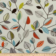 Covington Carson Fiesta from @fabricdotcom  Screen printed on cotton duck; this versatile, medium weight fabric is perfect for window accents (draperies, valances, curtains and swags), accent pillows, bed skirts, duvet covers, slipcovers, upholstery and other home decor accents. Create handbags, tote bags, aprons and more. Colors include orange, aqua, brown, lime, grey and an ivory background.