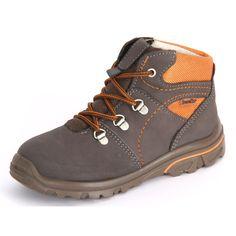 Cooler Schnürschuh für Kinder in schoko braun mit orange. Das Obermaterial besteht aus echtem Leder mit Textil kombiniert.