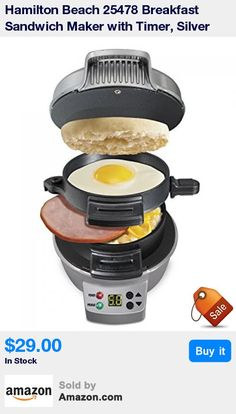 NOW with audible tone timer * Ready in 5 minutes, cook delicious breakfast sandwiches in the comfort of your own home * Use your own fresh ingredients, including eggs, cheese and much more * Make sandwiches with English muffins, biscuits, small bagels and more * All removable parts are dishwasher safe; surfaces are covered with durable, nonstick coating