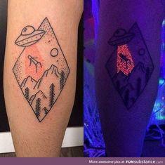 Alien glow in the dark tattoo