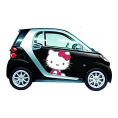 Hello-Kitty-Supercute-Smart-Car-Black-Door-Panel-583×367 » Yeliz'in... ❤ liked on Polyvore featuring cars, hello kitty and vehicles
