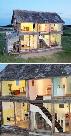 Canadian artist Heather Benning has turned an abandoned farm house she found in 2005 in Manitoba, Canada, into a life-sized dollhouse.  http://www.amusingplanet.com/2012/12/abandoned-farmhouse-transformed-into.html