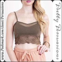 NWT Olive Lace Trim Bralette Crop Top NWT Lace Trim Olive Bralette Crop Top  ** Please do not purchase this listing. I will make you a personal listing if you'd like to purchase **  Available in sizes: S, M (Has stretch)  Bundle discounts available  No pp or trades Pretty Persuasions Tops Crop Tops