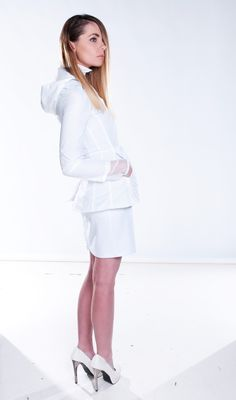 Active White Jacket on sale now!! love this lean back look #lightweightjacket #activejacket #white #whitefashion #sleek #straighthair #highfashion #australiandesigner