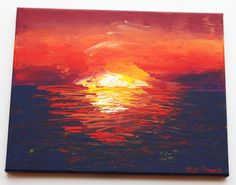 Original Abstract Painting - Sunset Over the Ocean - Acrylic Contemporary Art Palette Knife - Emily Cromwell