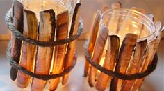 Sea shell lights. Attach razor shells to a recycled glass jar with a glue gun and wrap rope around it.