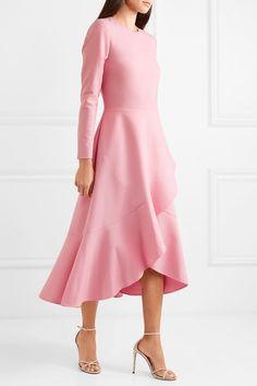 Oscar de la Renta - Belted embellished wool and silk-blend cady midi dress Pink Midi Dress, Dress Skirt, Asymmetrical Skirt, Crepe Dress, Silk Crepe, Flare Skirt, Wool Blend, Designer Dresses, Versace