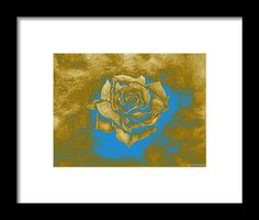 Rose Framed Print featuring the painting Gold Rose by Faye Anastasopoulou Rose Frame, My Themes, Blue Accents, Frame Shop, Artist At Work, Framed Art Prints, Fine Art America, Original Art, Rose Gold
