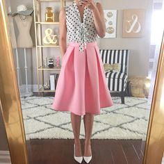Curvy Outfit Ideas | Petite Outfit Ideas | Plus Size Fashion | Summer Fashion | OOTD | Professional Casual Chic Fashion and Style Inspiration | Manolo Blahnik white BB pumps, Modcloth Emphasize The Adorable Skirt in Pink, Modcloth South Florida in White Dots