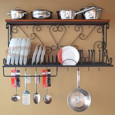 Perfect use of wall space with this hand forged iron wall shelf! Kitchen Rack, Diy Kitchen, Kitchen Storage, Kitchen Decor, Kitchen Design, Rustic Kitchen, Art Fer, Iron Coffee Table, Wrought Iron Decor
