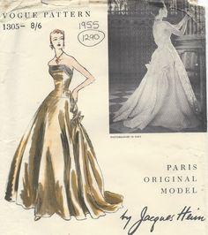 1955 Vintage VOGUE Sewing Pattern B34 DRESS EVENING GOWN (1290) By JAQUES HEIM #VoguebyJaquesHeim