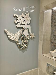 Mermaid Art, Coast, Beach Decor, Handmade Wood and Shell or Glass Mermaid, Made to Order, Choose your Options