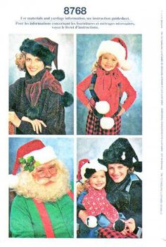 Santa Elf Hat -- Simplicity Sewing Pattern 8768 Adult Child's Size Small - Large Santa Hat Scarf Decorated Box.  $9.99