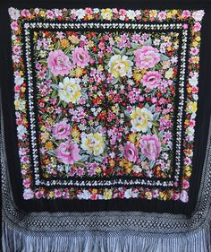 vintage Hand Embroidered piano shawl