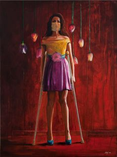 Shurooq Amin, 'Fashionista', 2014, mixed media on canvas, 200 x 150 cm. Image courtesy the artist and Ayyam Gallery.
