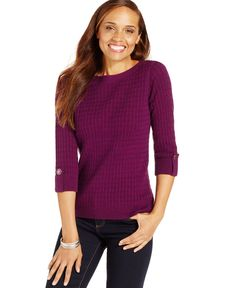 Karen Scott Marled Cable-Knit Sweater