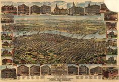 Huge birdseye of Portland, OR c.1890 via @BigMapBlog