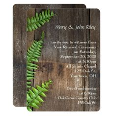 wedding vow renewal-fern on rustic wood card - barn wedding gifts template diy customize personalize marriage