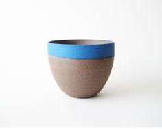 U Planter - Large, blue stripe