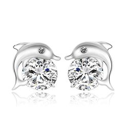 Gintan 925 Sterling Silver Dolphin Stud Earrings with White Cubic Zircon 10mm * Find out more about the great product at the image link. Note:It is Affiliate Link to Amazon.