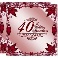 Shop Ruby Wedding Anniversary Invitation created by Digitalbcon. Wedding Anniversary Quotes, Wedding Anniversary Invitations, Sunflower Wedding Invitations, Burgundy Wedding Invitations, Destination Wedding Invitations, Simple Wedding Invitations, Zazzle Invitations, Invitation Cards, 40th Anniversary