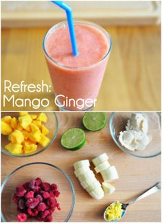 Mango Ginger — 2 cups frozen Mango, 1 cup frozen raspberries, 1 banana, ¼ cup chopped ginger, squeeze of lime, yogurt.
