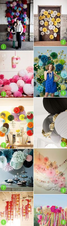 Good backdrop inspiration | Top 10 - Wedding Pompoms & Fans via @Vané Broussard | Brooklyn Bride