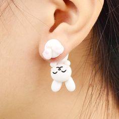 Handmade White Rabbit Earrings