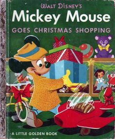 Vintage Holidays Little Golden Walt Disney Book Mickey Mouse Goes Christmas Shopping