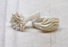 Porcelain rings. Made by Nausika.