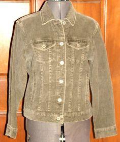 EDDIE BAUER moss green cotton corduroy denim style jacket XS (T07-07A4G) #EddieBauer #JeanJacket