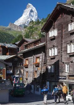 le vieux village et le mont Cervin 4478 m, Obere Matten, Canton of Valais, Zermatt, Switzerland
