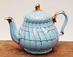 Sadler teapot England blue and gold - collectible